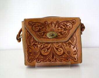 Hand Tooled Leather Vintage Handbag