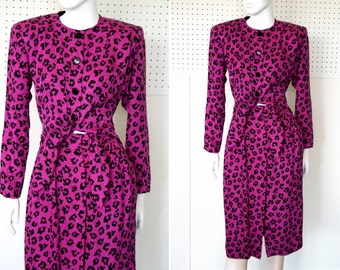 Dark Pink and Black Cheetah Print Silk One Piece Crop Top Tie Waist Liz Claiborne Pencil Skirt Vintage Dress