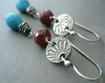 Sale, Blue Turquoise, Red Ruby Earrings, Wire Wrap Gemstone Jewelry, December Birthstone Earrings, Oxidized Silver Dangle, Western Style