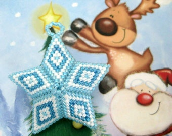 Christmas 3D Peyote Star Ornament Beaded Blue White Seed Bead