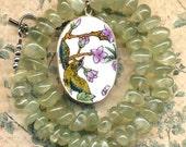 Green Garnet Necklace with big Bird and Flowers Porcelain Pendant,  OOAK Bird Necklace, Prehnite Bird Necklace by Annaart72