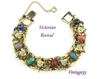 Bracelet Victorian Revival Hearts Turquoise 1950