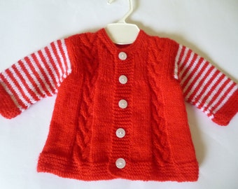 Newborn Sweater, Unisex Baby Sweater, Knitted Baby Sweater, Christmas Baby Gift, Baby Shower Gift, Red White Sweater, Coming Home Sweater.