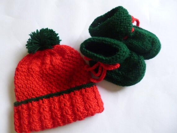 SALE.... Christmas   Baby Set,  Hat and Booties Set,  Hand Knitted Baby Beanie and Booties Set 2 to 6 Months
