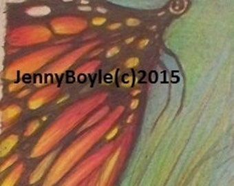butterfly wildlife art magnet aceo print