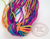 Hand Painted 2mm Silk Ribbon Cords in Neon Carnival Color Palette by Marsha Neal Studio