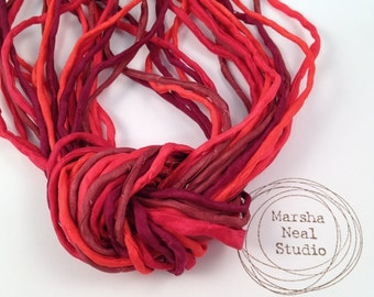 Hand Dyed Silk Cord - Silk Ribbon - Jewelry Supplies - Wrap Bracelet - Craft Supplies - Hand Painted 2mm Silk Cords in Holiday Reds