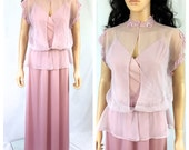 Vintage Mauve Pink Maxi Dress. Dusty Rose. Romantic. Small/ Medium. Gown. Wedding. Long Dress. Lace Collar. Under 50 Dresses. 1980s.
