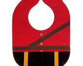 RCMP Mountie Serge Baby Bib, Leather Baby Bib with Food Catch Pocket and Magnet Clasp, Mountie Uniform Design on Red - Baby or Toddler Size