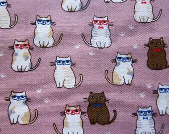 Animal Print Fabric - Classy Cats Fabric on Lilac - Cotton Fabric - Half Yard