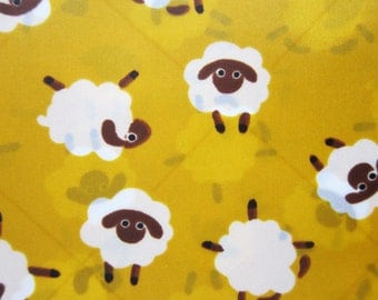 Japanese Waterproof / Water Resistant Fabric - Sheep on Yellow - Large Fat Quarter LIMITED YARDAGE