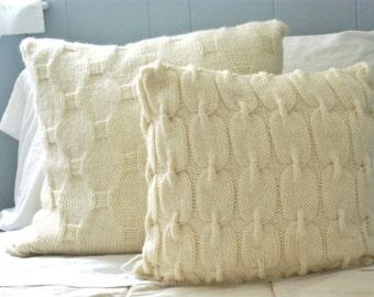Knit Sweater Pillow- Wool Pillow Cover- Decorative Throw Pillow- Bed Pillow- Rustic Pillow- Rustic Home Decor- Textured Pillow- Pillow Sham