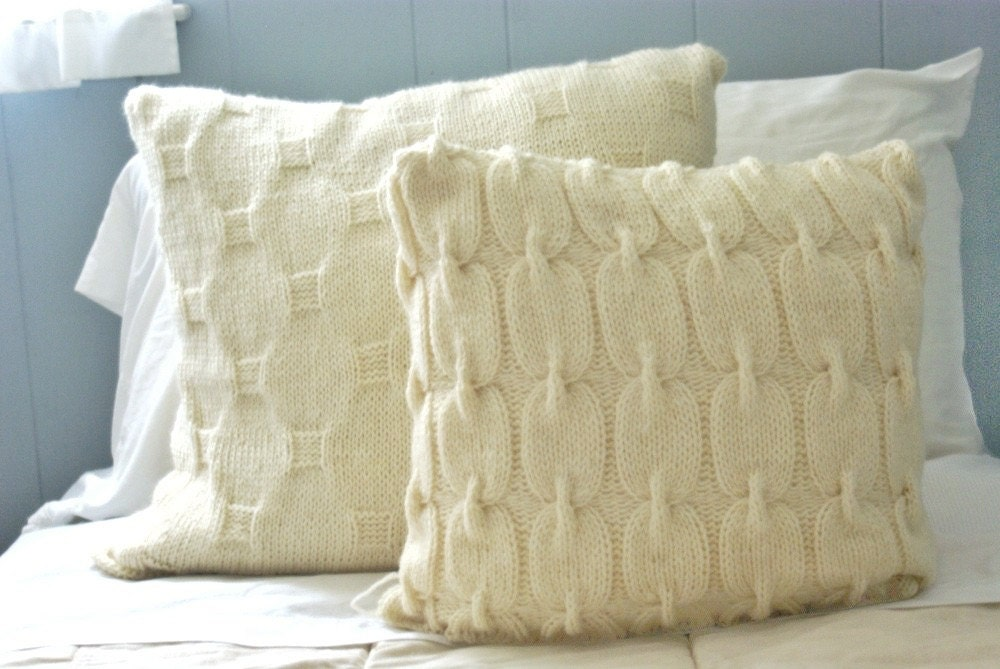 Knit Throw Pillow Cover Pattern : Knit Sweater Pillow Wool Pillow Cover Decorative Throw