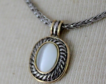 Vintage Necklace Silver Gold Tone Chain Mother Of Pearl Oval