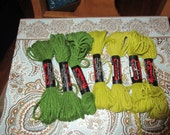Persian Type needlepoint, crewel , plastic canvas yarn red heart color 510 asnd 550 green  100 %Creslan Acrylic 7 pieces