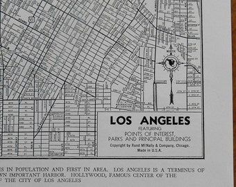 Old Los Angeles City street map, Vintage 1940s antique map, black and white