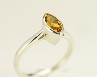 Sterling Marquis Birthstone Ring - Citrine Ring - Choose Your Gemstone