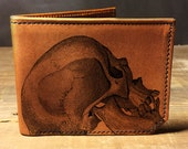 wallet - leather wallet - mens wallet- mens leather wallet - Skull wallet - 0013