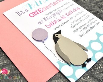 Penguin Invitations · A6 FLAT · Pink and Pool Blue · Winter Wonderland | Birthday Party | First Birthday | Baby Shower