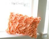 Lumbar Felt Ruffled Pillow in Peach 15x10