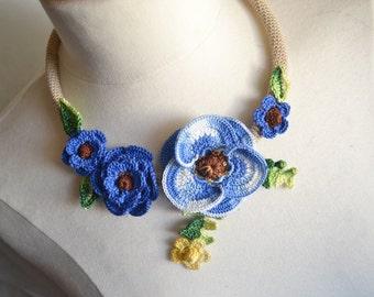Blue poppy crochet necklace choker flower floral cotton freeform