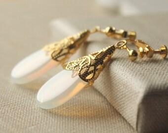 Opal Earrings Pierced or Clip Opalite Gold Opal Earrings Moonstone Earring Opalite teardrop glass dangle Opal Clip Earring E167