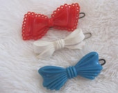 Vintage barrettes, sweet children barrettes, 3 different bows,  red, white and blue