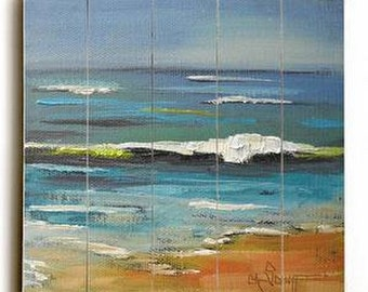 Beach Landscape, Seashore Giclee, Print on Wood Panel, Free Shipping, Ready to Hang, No Frame Needed