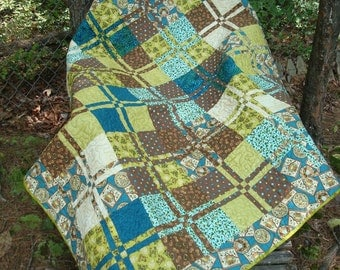 Teal Green and Brown Owl Baby Quilt Lap Quilt Throw