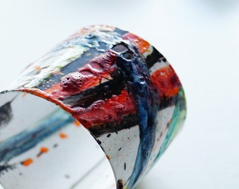 1  NEW Better MOON    Bracelet Cuff Abstract  one of a kind Art Studio Canada   Size+ Hand Painted