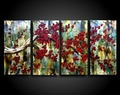 Large Abstract Painting Original Painting Encaustic Painting Modern Painting 4 piece Art Canvas Wall Art Red Tree Painting The Raw Canvas