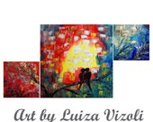 """Abstract Whimsical Colorful Love Birds Painting SEASONS with LOVE 40""""x 20"""" Large Painting"""