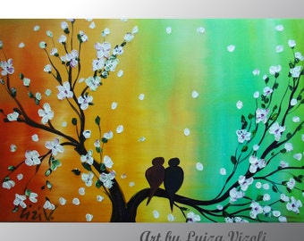 LOVEBIRDS and SPRING MUSIC Cherry Tree Branches Giclee Painting Embellished Print Wall Decor by Luiza Vizoli