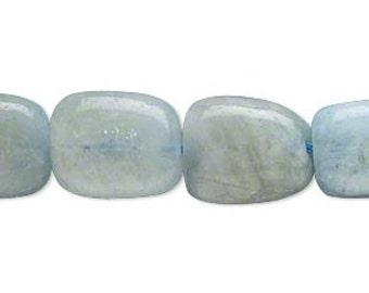 Aquamarine beads - full strand - blue green heated - clearance sale - flat polished nuggets  16 inch strand - 16 to 20 mm average large size