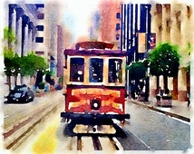 San Francisco Trolley, California Icon, Original artwork by me, Giclee Print, City Scenes, Trolley Car Art, Streetcar Art, Unique Gift
