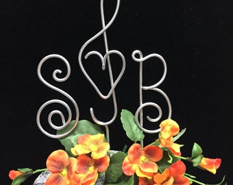 3 piece music note with heart for bride and groom cake topper treble clef and initials Fits SMALL cakes too!