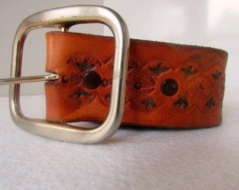 Vintage Leather Belt with Tinted Design Brown Leather Cowboy Belt Sz 34