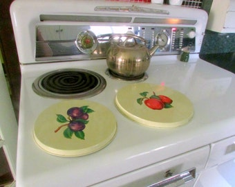 Vintage Style Pair of Metal Burner Covers for Stove Apple and Plum Kitchen Decor Fruit
