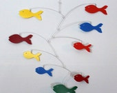 Mobile Rainbow School of Fish - US SHIPPING INCLUDED Kinetic Art Fish Mobile Sculpture by Carolyn Weir - 27w x 21t - P136