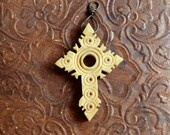 Carved Bone Cross Pendant Old Piece Great Design