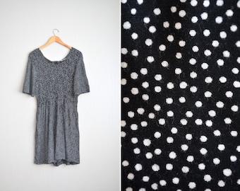 SALE // Size M // POLKA DOT Romper // Black & White - Smocked - Short Sleeve - Rayon Jumpsuit - Vintage '80s/'90s.