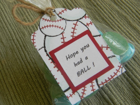 BASEBALL party favor tags with bags (set of 10); baseball theme party ...