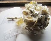 Vintage Fabric Flower Bouquet * Bridal Bouquets * Handmade Weddings * Original designs * Gold Lam'e Pom