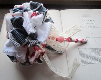 Fabric Wedding Bouquet * Denim Bouquet Vintage Fabric Accessory Flowers * Retro Jean Material