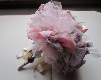 Handmade Wedding Bouquet * Vintage Fabric Flower * Vintage Pommery * Boudoir Bouquets, Flower Girls and Gifts