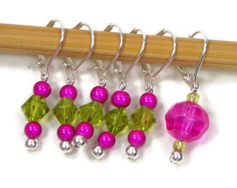 Removable Stitch Markers Crochet Row Markers Hot Pink Lime green Locking Knitting Supplies DIY Crafts