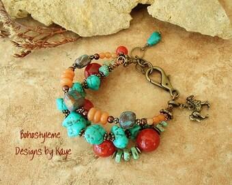 Rustic Tribal Bracelet, Turquoise Jewelry, Boho Southwest Jewelry, Chunky Stone Bracelet, Boho Style Me, Kaye Kraus