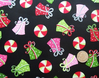 COUPON Code Sale - Maywood Studio, Merry & Bright, Christmas Gifts, Black, Designer Cotton Quilt Fabric, Quilting Fabric, SELECT A SIZE