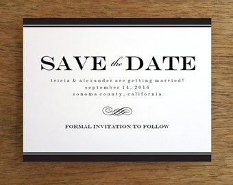 Printable Save the Date Card - Save the Date Template - Instant Download - Black & White Save the Date Card - Black Stripe Save the Date PDF