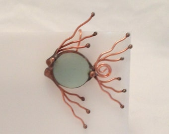 Glass Fish Earrings, Copper, Frosted Glass, Seafoam, Angelfish,